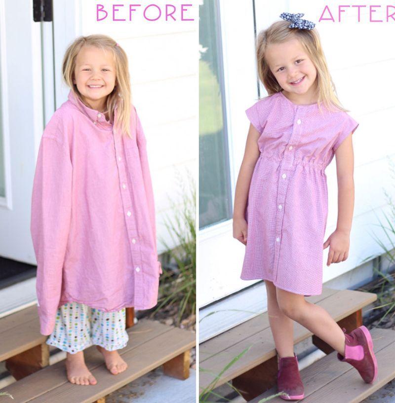 Как сшить себе платье из папиной рубашки