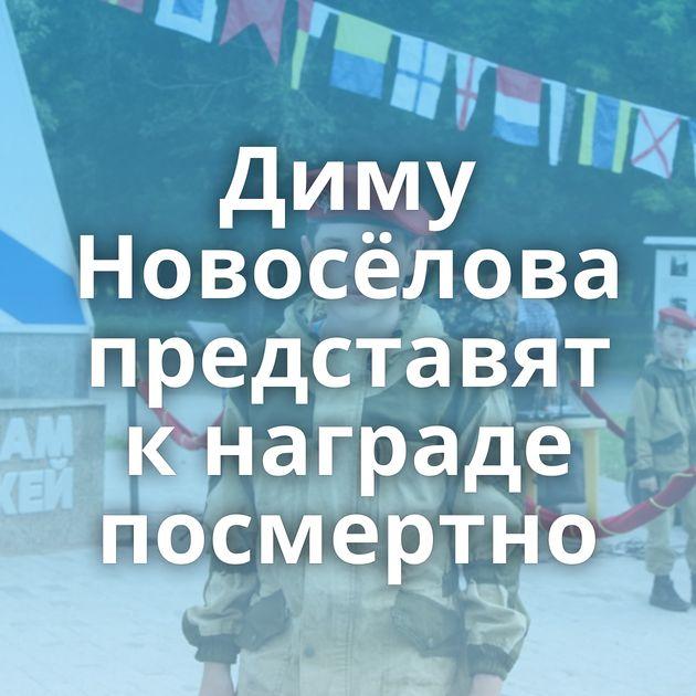 Диму Новосёлова представят кнаграде посмертно