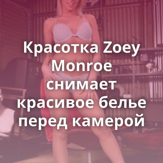 Красотка Zoey Monroe снимает красивое белье перед камерой