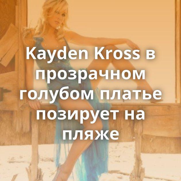 Kayden Kross в прозрачном голубом платье позирует на пляже