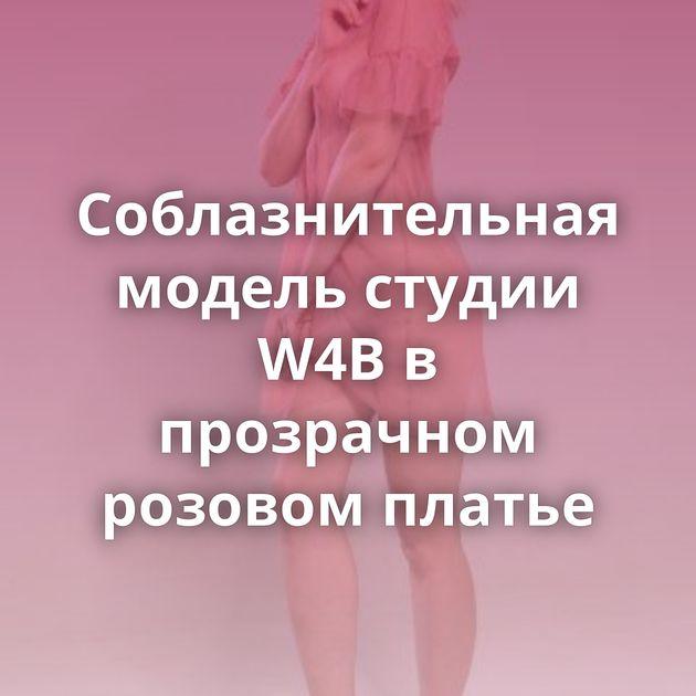 Соблазнительная модель студии W4B в прозрачном розовом платье