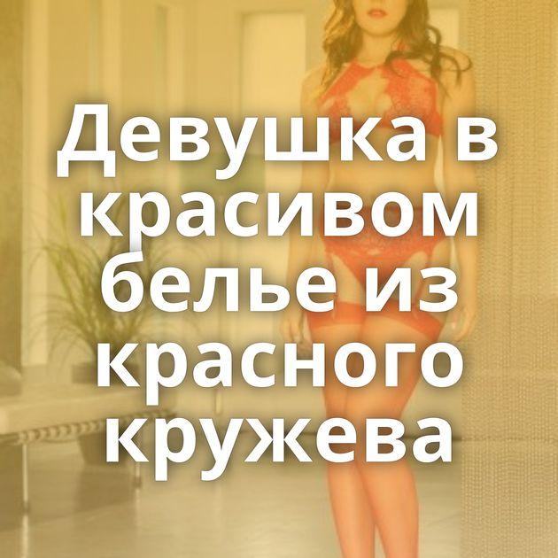 Девушка в красивом белье из красного кружева