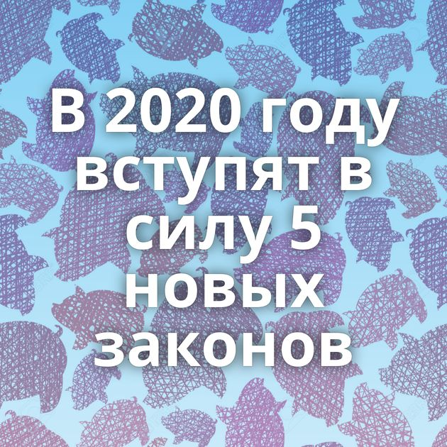 В 2020 году вступят в силу 5 новых законов