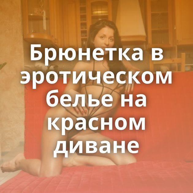 Брюнетка в эротическом белье на красном диване