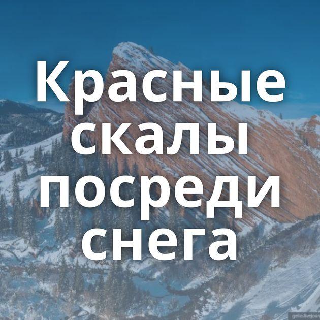 Красные скалы посреди снега
