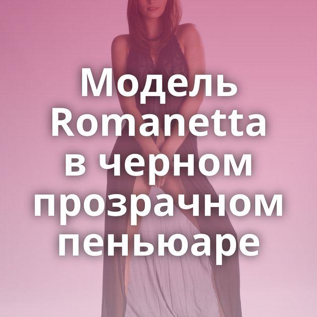 Модель Romanetta в черном прозрачном пеньюаре