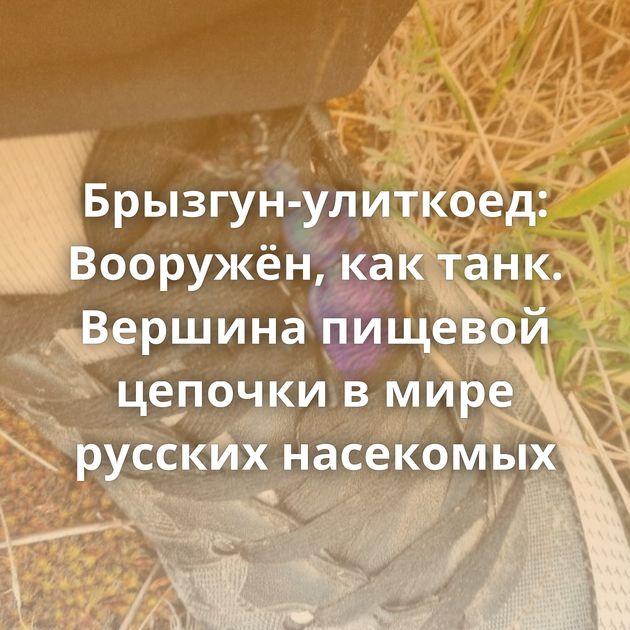 Брызгун-улиткоед: Вооружён, кактанк. Вершина пищевой цепочки вмире русских насекомых