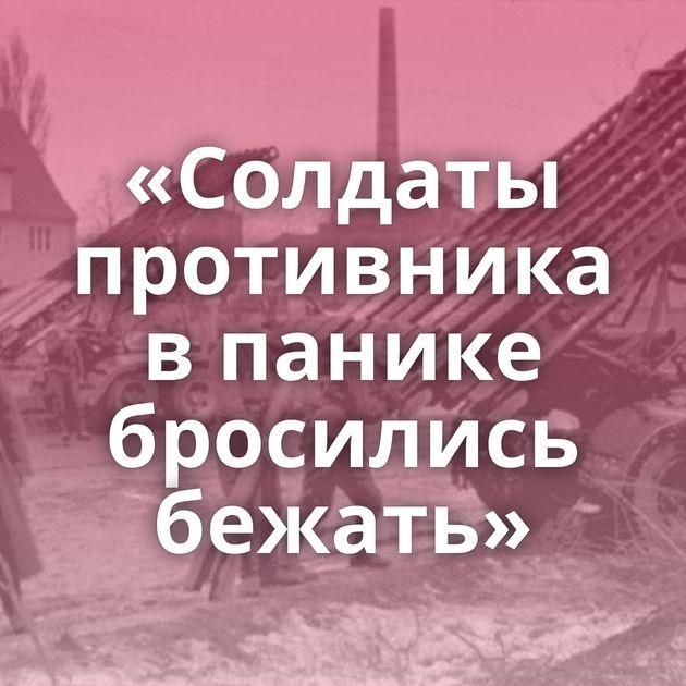 «Солдаты противника впанике бросились бежать»