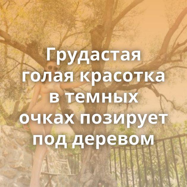 Грудастая голая красотка в темных очках позирует под деревом