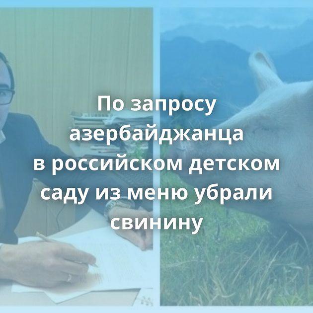 Позапросу азербайджанца вроссийском детском саду изменю убрали свинину
