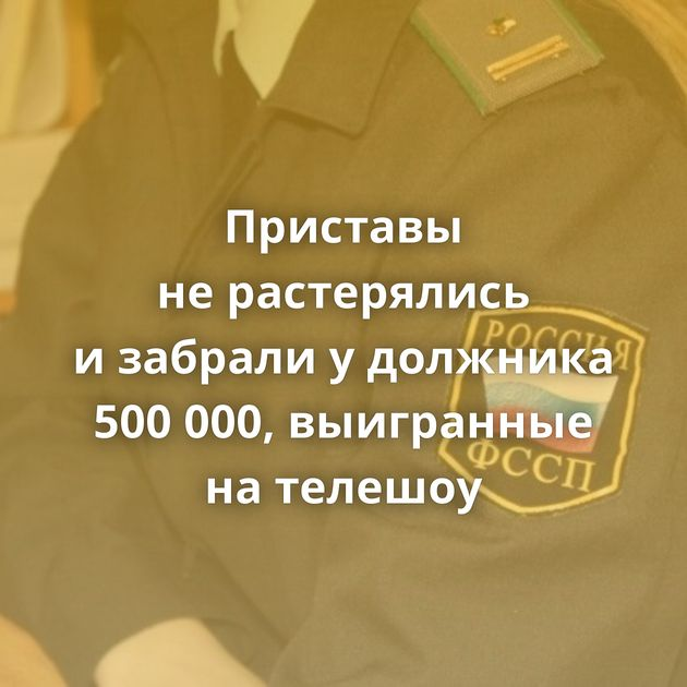 Приставы нерастерялись изабрали удолжника 500000, выигранные нателешоу
