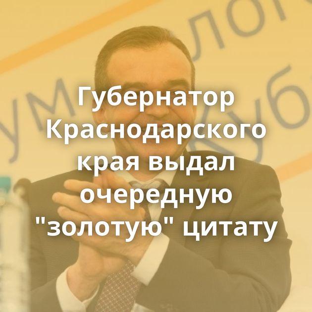 Губернатор Краснодарского края выдал очередную