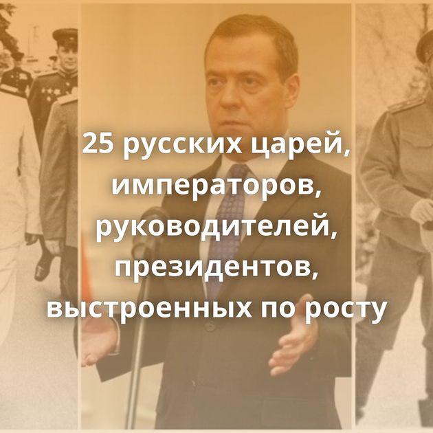 25русских царей, императоров, руководителей, президентов, выстроенных поросту