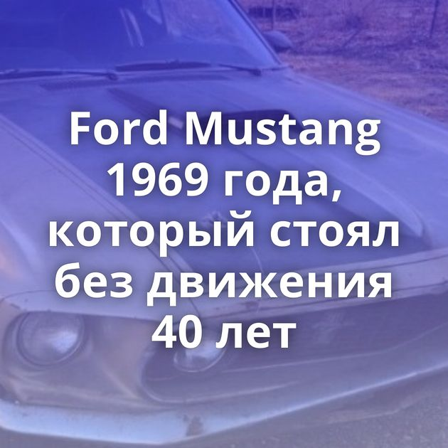 Ford Mustang 1969 года, который стоял без движения 40 лет