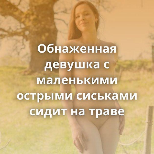 Обнаженная девушка с маленькими острыми сиськами сидит на траве