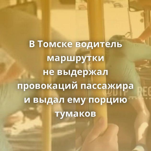 ВТомске водитель маршрутки невыдержал провокаций пассажира ивыдал емупорцию тумаков