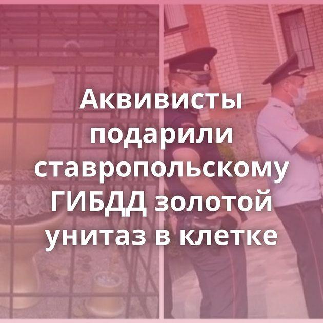 Аквивисты подарили ставропольскому ГИБДД золотой унитаз вклетке