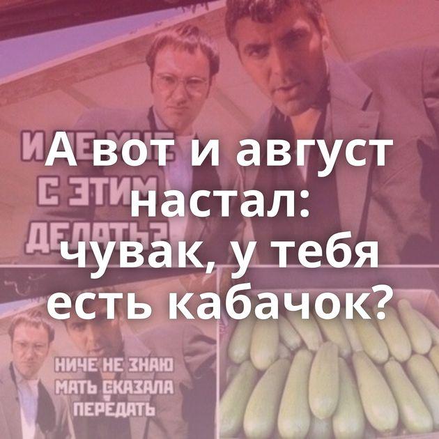 Авотиавгуст настал: чувак, утебя есть кабачок?
