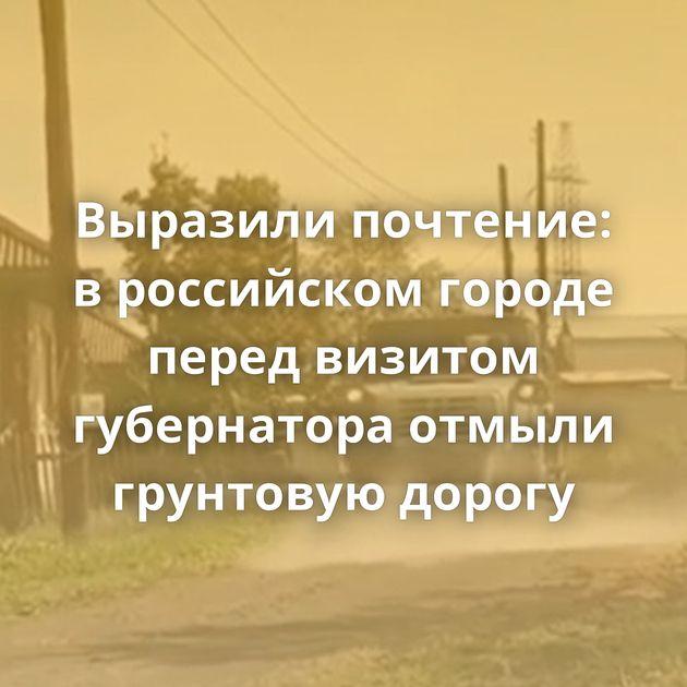 Выразили почтение: вроссийском городе перед визитом губернатора отмыли грунтовую дорогу