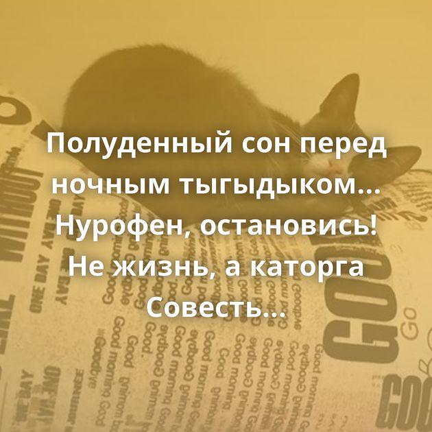 Полуденный сон перед ночным тыгыдыком... Нурофен, остановись! Не жизнь, а каторга Совесть здорового человека…