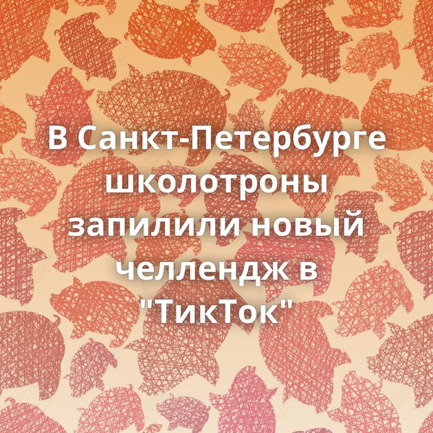 В Санкт-Петербурге школотроны запилили новый челлендж в