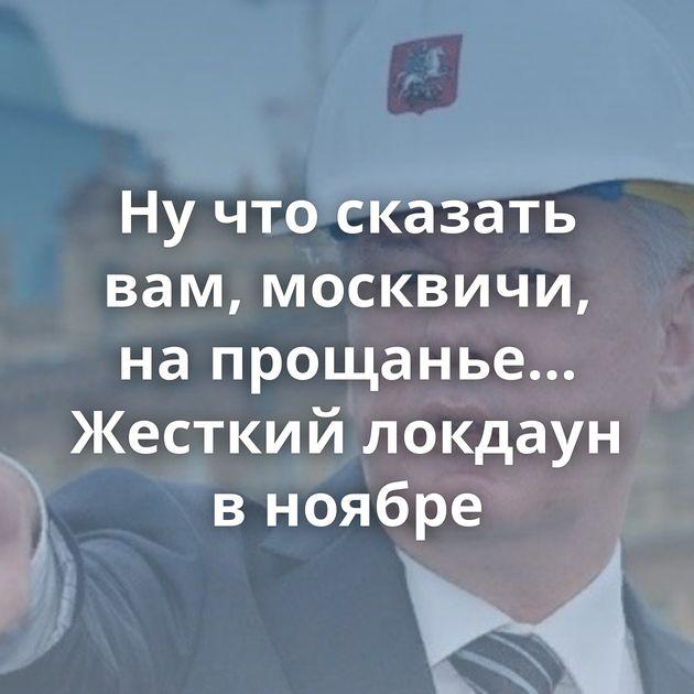 Нучтосказать вам, москвичи, напрощанье… Жесткий локдаун вноябре