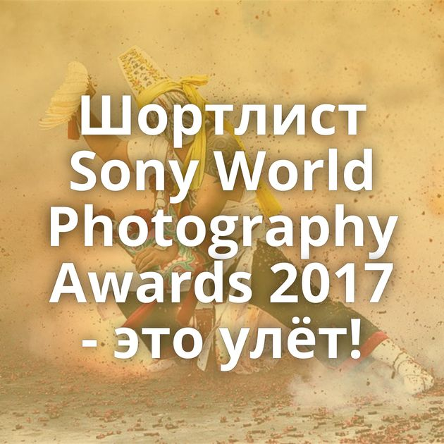 Шортлист Sony World Photography Awards 2017 - это улёт!