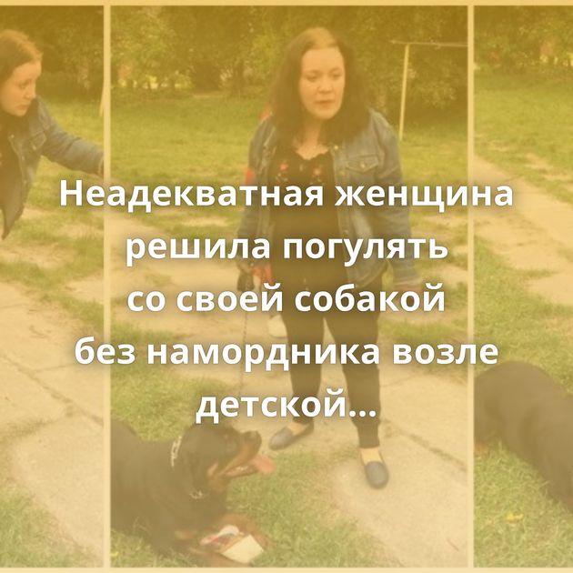 Неадекватная женщина решила погулять сосвоей собакой безнамордника возле детской площадки