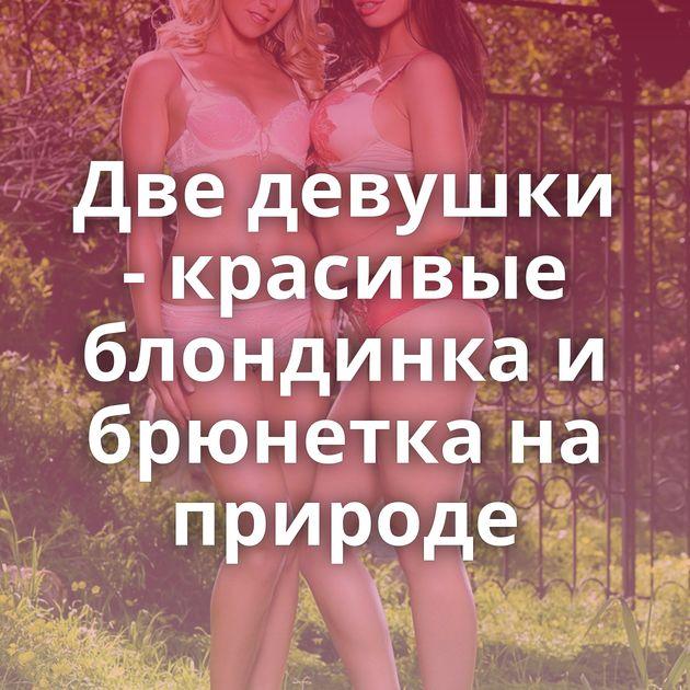 Две девушки - красивые блондинка и брюнетка на природе