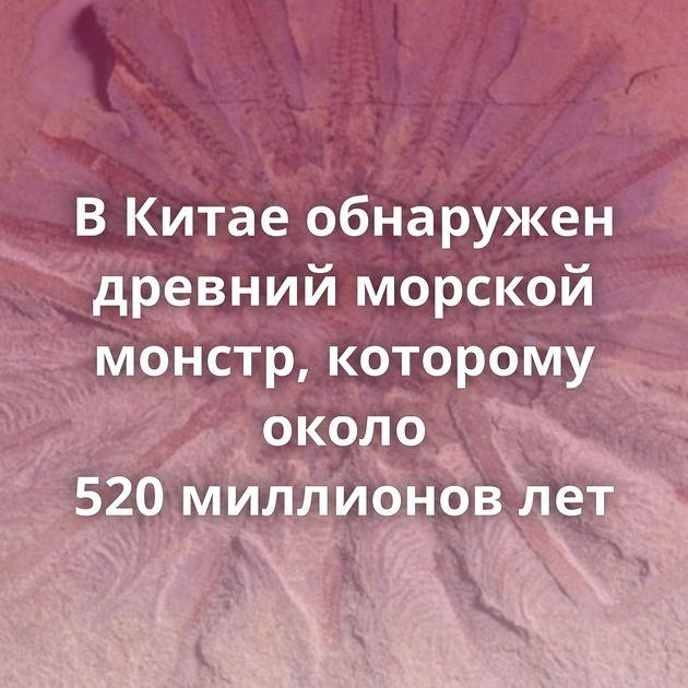 ВКитае обнаружен древний морской монстр, которому около 520миллионов лет